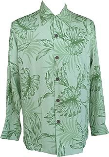 product image for Paradise Found Mens Monstera Palm Kamehameha Style Long Sleeve Shirt Kiwi Green M