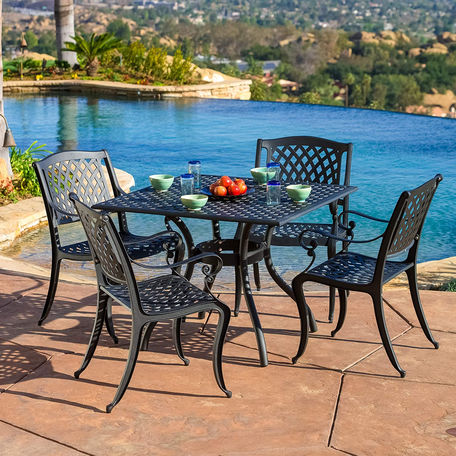 Marietta Outdoor Furniture Dining Set, Cast Aluminum Table and Chairs for Patio or Deck 5-Piece Set