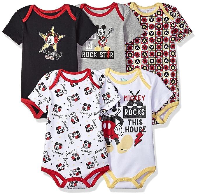 4804e2756 Disney Baby Boys' Mickey 5 Pack Bodysuits, Multi/Anthracite Black, ...