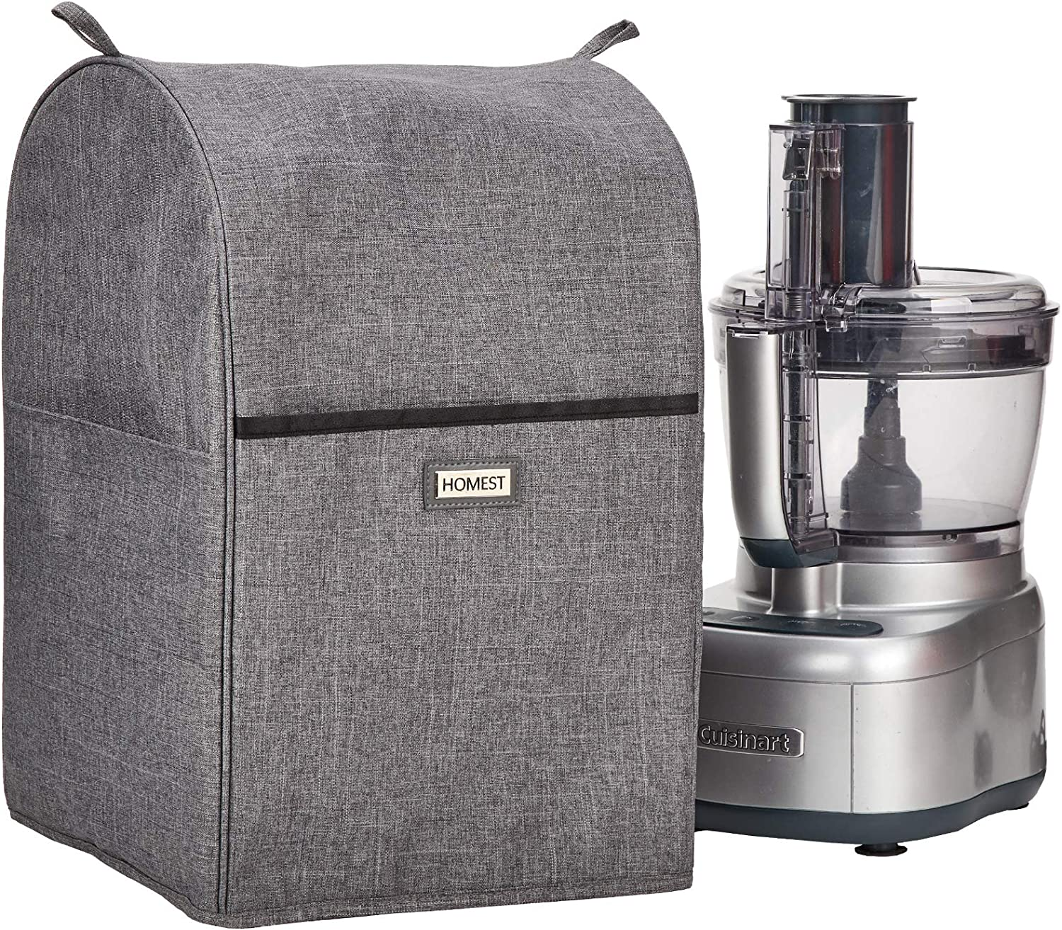 HOMEST Food Processor Dust Cover with Accessory Pockets Compatible with Cuisinart Elemental 8-13 Cup, Grey (Dust Cover Only)