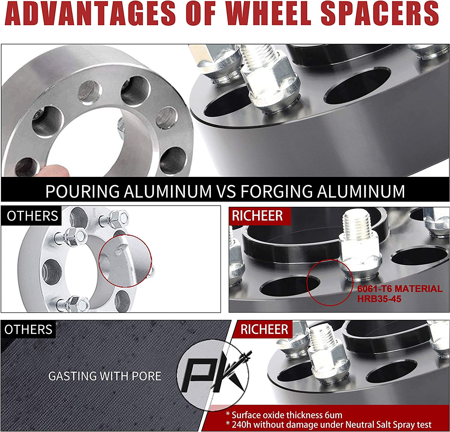 Cadillac Escalade with 14x1.5 Studs/&78.1mm Bore Richeer 4 PCS 2 Inch Hubcentric Wheel Spacers 6x5.5 for Silverado 1500,wheel spacers 6x139.7mm for Chevy Tahoe Avalanche Express Suburban,GMC Yukon//XL