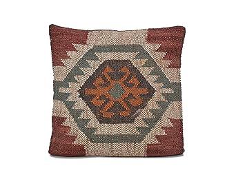 Moycor Cojín Yute de lana tricolor 60 x 60 x 10