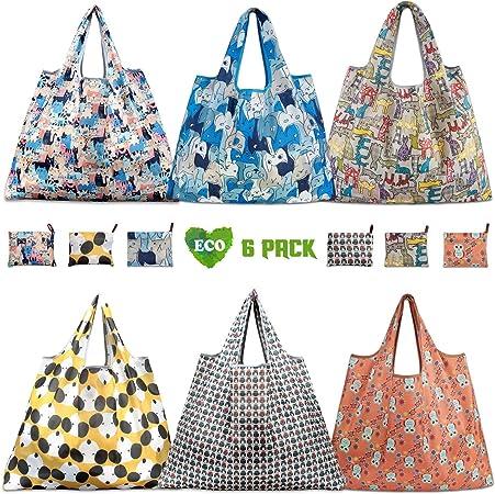 Tebery Sacs /à provisions r/éutilisables 6 Pack XL Sacs pliables respectueux de lenvironnement pour organiser ses courses