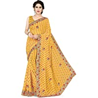 Sourbh New Traditional Georgette Heavy Embroidery Saree for Women with Bandhej Prints & Stone Work