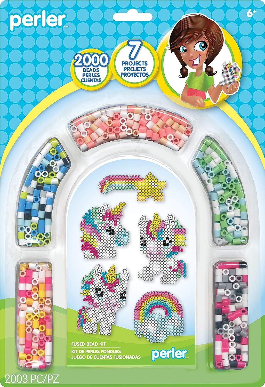 Rainbow Unicorn Perler Beads Kit, 7 Projects, 2000pc Simplicity 80-63055