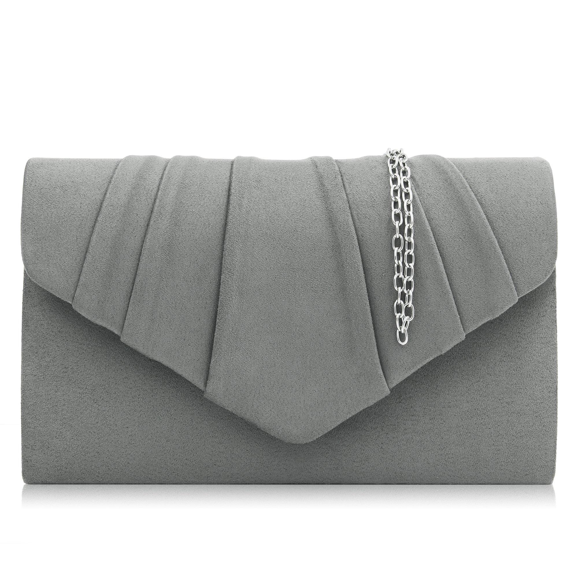 Milisente Women Evening Bag Velvet Pleated Clutch Purse Envelope Clutches (Gray)