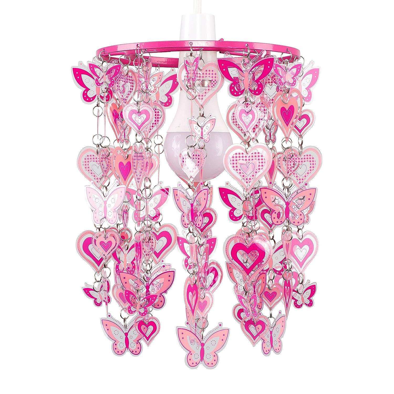 MiniSun Abat-Jourmoderne avec motifs cœur et papillonspour suspension, Rose/blanc Trident Ltd 11235