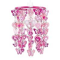 MiniSun Abat-Jourmoderne avec motifs cœur et papillonspour suspension, Rose/blanc