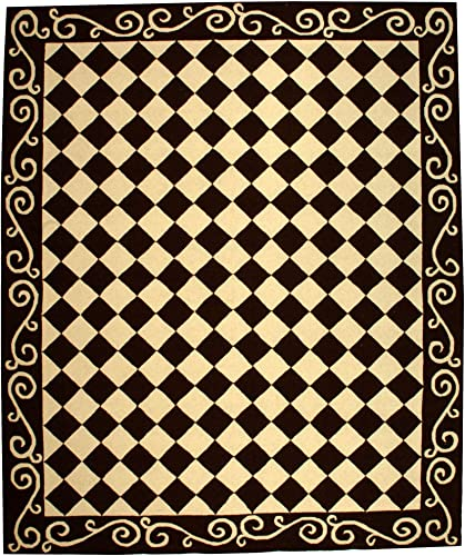 Safavieh Chelsea Collection HK711B Hand-Hooked Brown and Ivory Premium Wool Area Rug 7 9 x 9 9