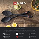 Di Oro Seamless Series 2-Piece Silicone Spoon Set - 600F Heat-Resistant Rubber Non-Stick Slotted and Solid Spoons for Mixing and Serving - LFGB Certified and FDA Approved Pro-Grade Silicone - Black