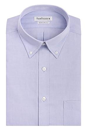 86861c6c4ed2 Van Heusen Men's Pinpoint Regular Fit Solid Button Down Collar Dress Shirt,  Blue, 14.5&quot