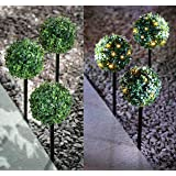 3 Pack Solar Powered Topiary Stake Ball Light 27 Led Dual Function