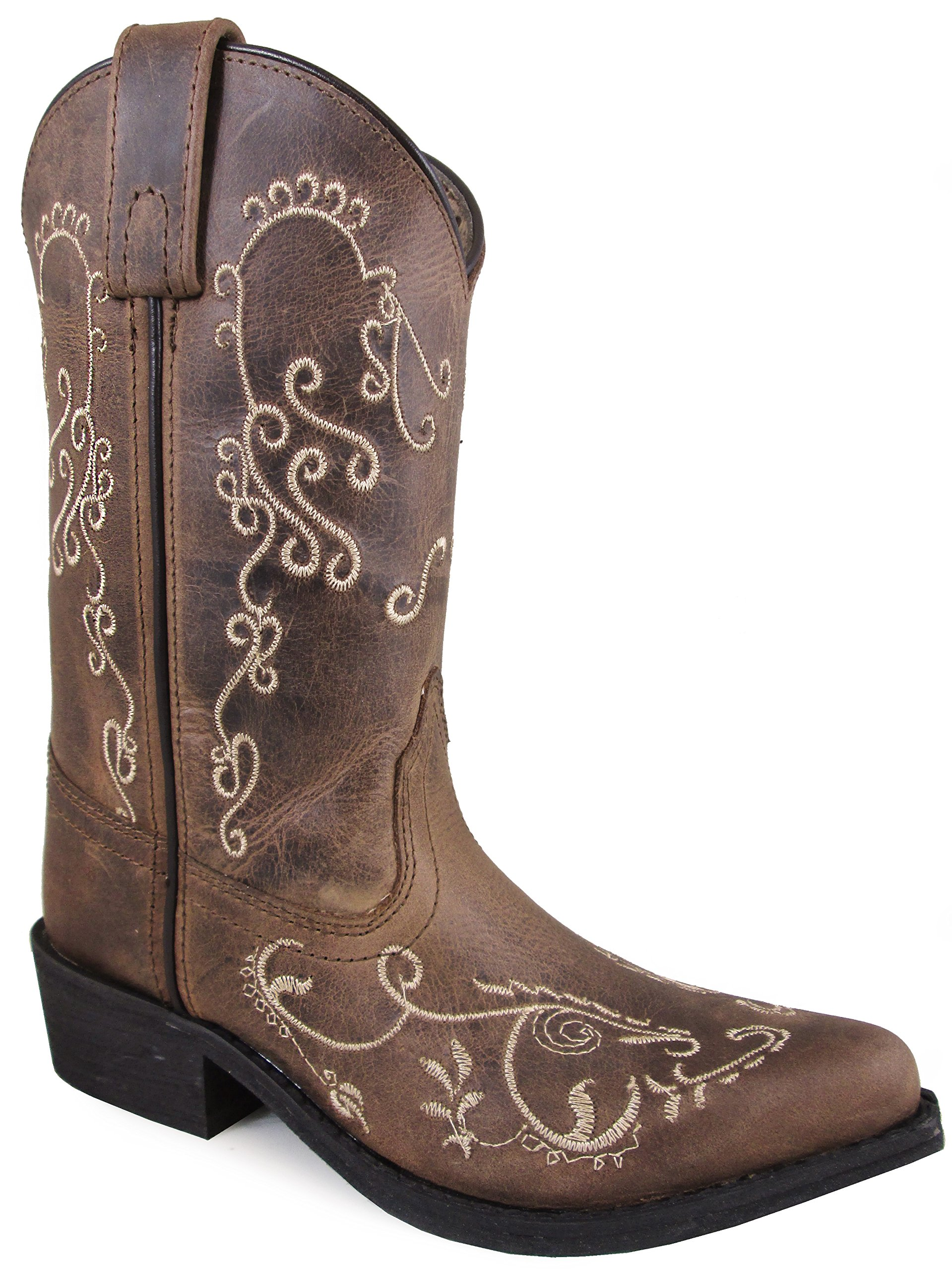 Smoky Mountain Children's Jolene Pull On Embroidered Snip Toe Brown Waxed Distress Boots 13M