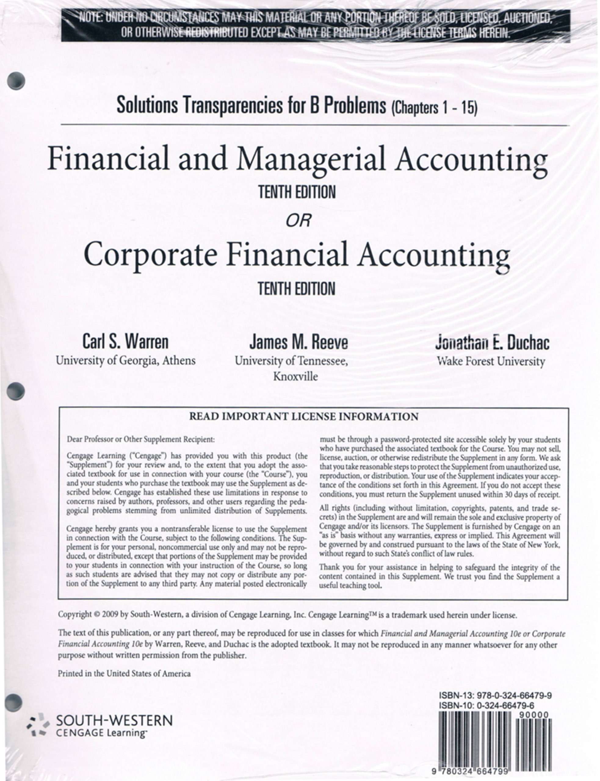 """Solutions Transparency for """"B"""" Problems (Chapters 1-15) Financial and Managerial Accounting or Corporate Financial Accounting Tenth Edition pdf"""