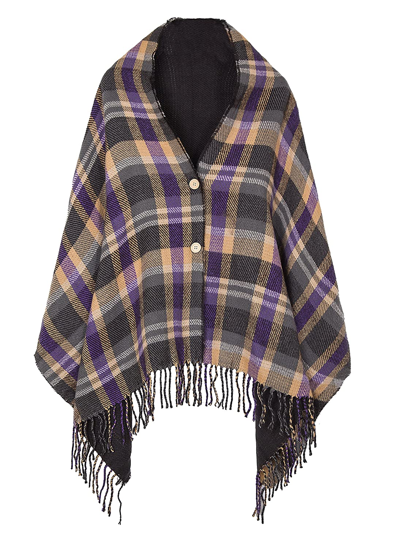 Women\'s Vintage Plaid Knitted Tassel Poncho Shawl Cape Button ...