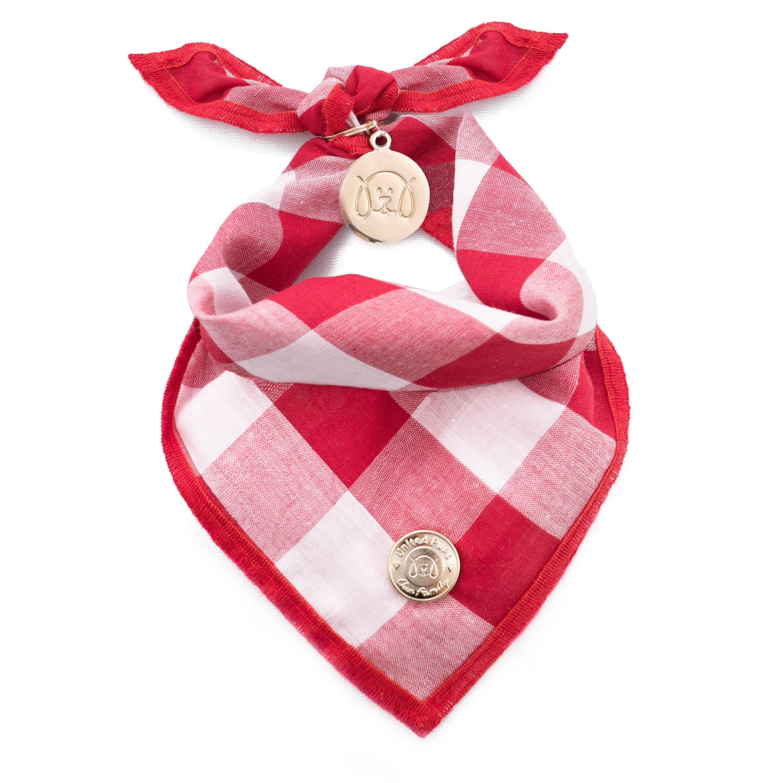United Pups Designer Bandana Collection for Dogs (Red Gingham, Small)