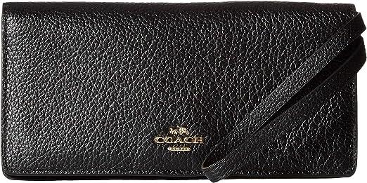 Amazon Com Coach Pebbled Leather Slim Wallet Li Black One Size Shoes