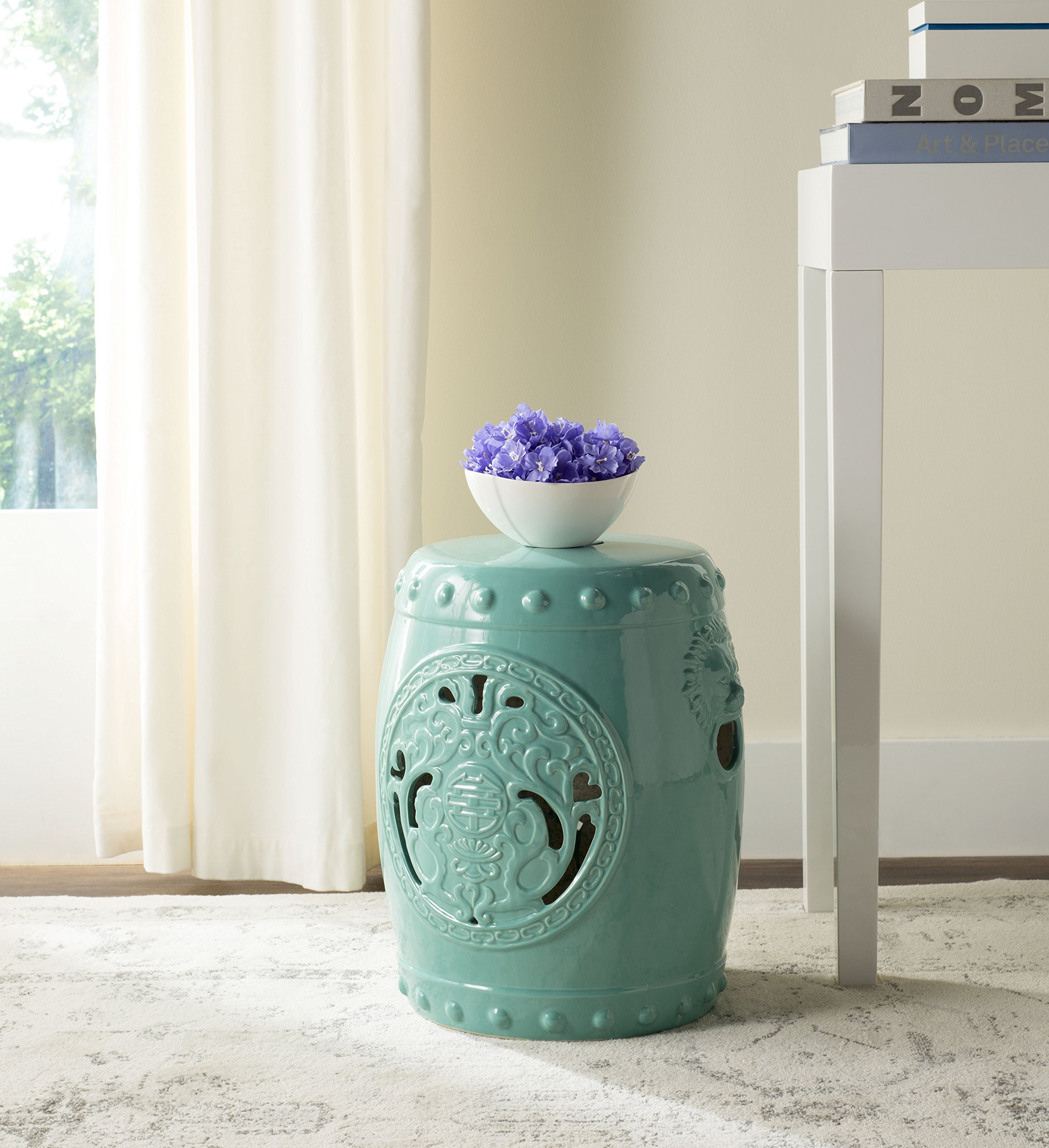 Safavieh Castle Gardens Collection Dragon Coin Light Blue Glazed Ceramic Garden Stool by Safavieh