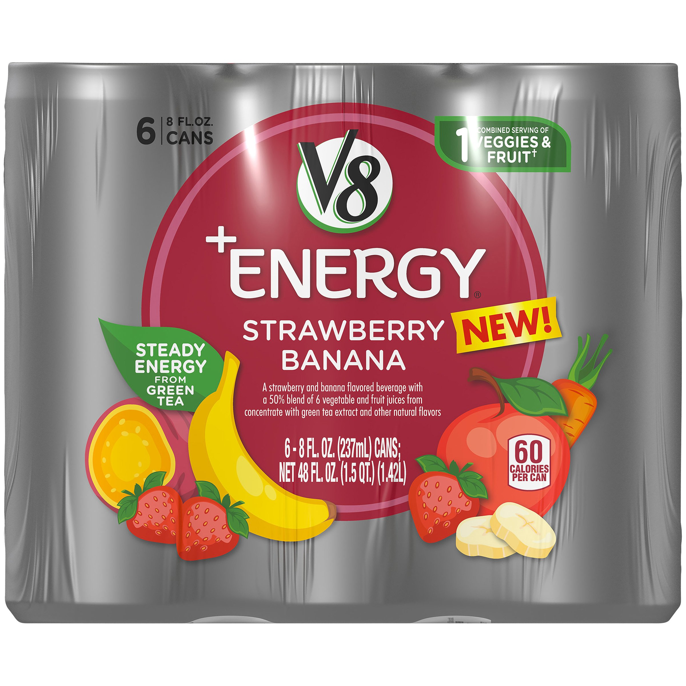 Amazon.com : V8 +Energy, Juice Drink with Green Tea, Strawberry Banana, 8 oz. Can (4 packs of 6, Total of 24) : Grocery & Gourmet Food