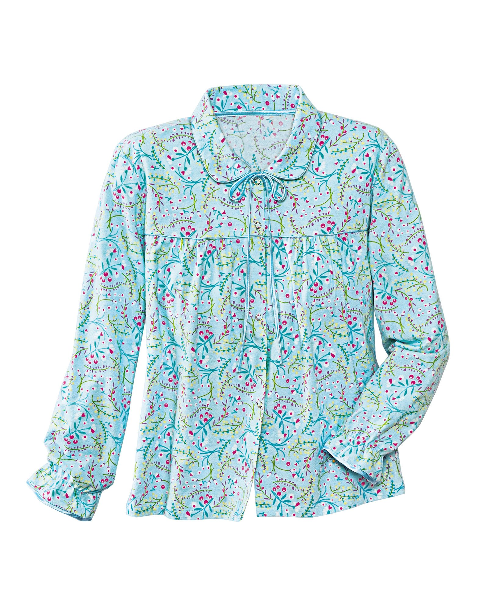 La Cera Flannel Bed Jacket, Aqua Floral, Large by La Cera