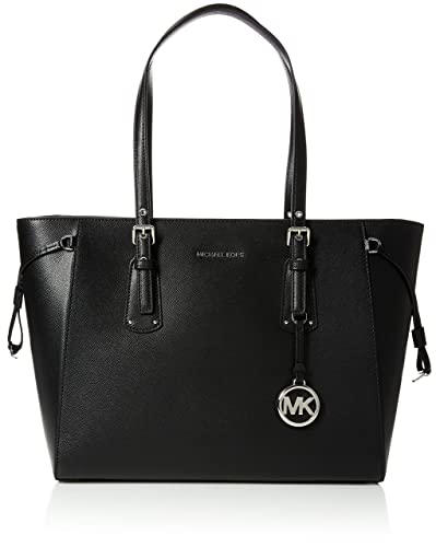2511441d5825 Amazon.com  Michael Kors Womens Voyager Canvas and Beach Tote Bag Black  (BLACK)  Michael Kors  Shoes