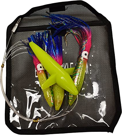 Daisy Chain Rainbow Squid and Bird Rigged Fishing Lure with Lure Bag