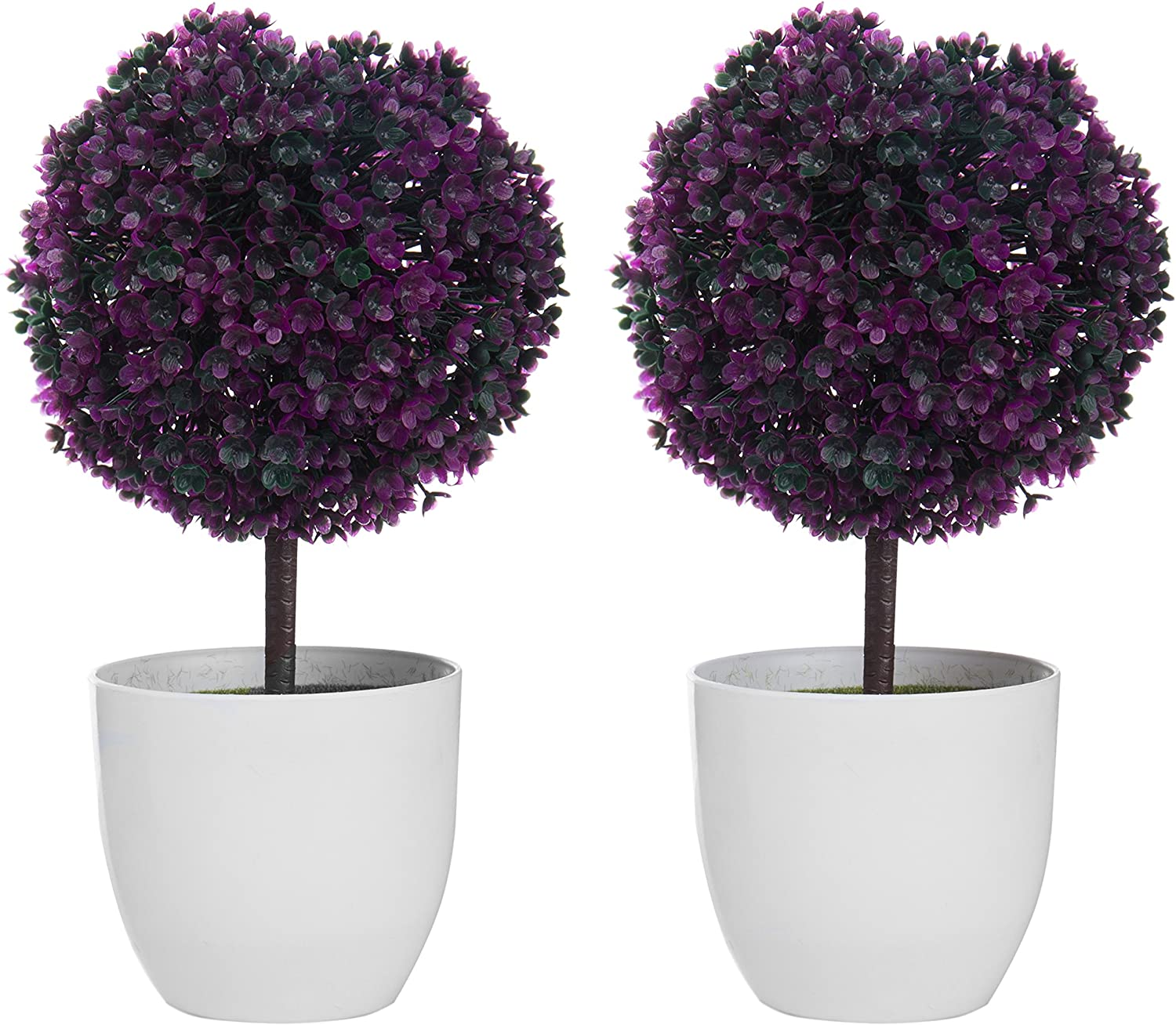 Amazon Com Mygift Set Of 2 Artificial Faux Potted Tabletop Purple Flower Plant Topiary W White Planter Pots Home