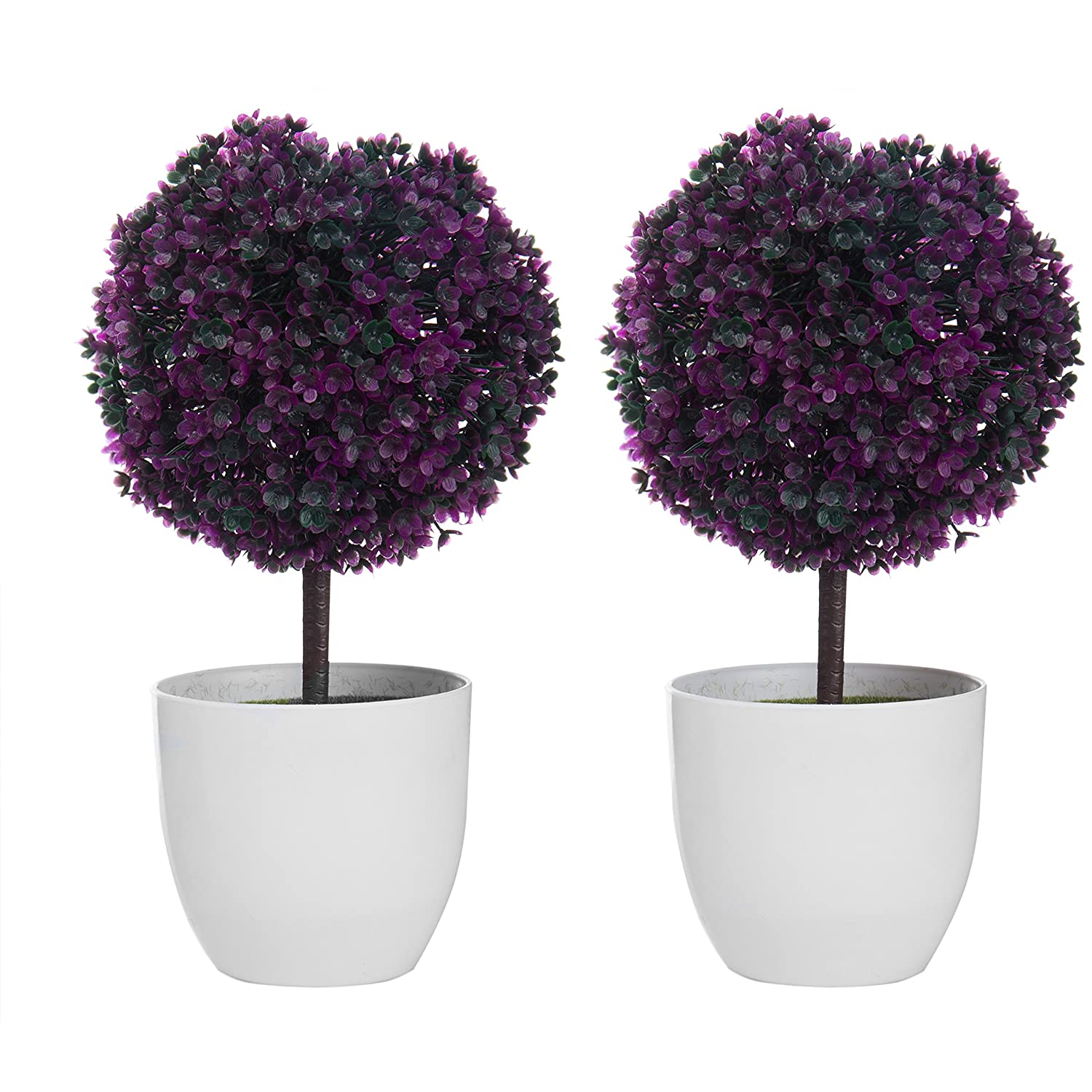 MyGift Set of 2 Artificial Faux Potted Tabletop Purple Flower Plant Topiary w/White Planter Pots Home
