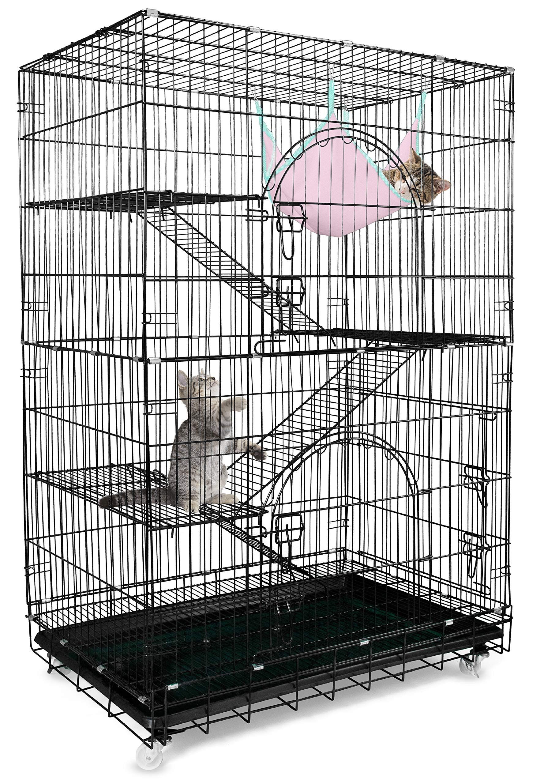 Petsmatig Wire Cat Cage: Spacious Foldable Metal Pet Crate Playpen with 3 Openings, 3 Platforms, 3 Ladders, 1 Hammock, 1 Bottom Tray, 4 Wheels and Free Grooming Gloves by Petsmatig (Image #1)