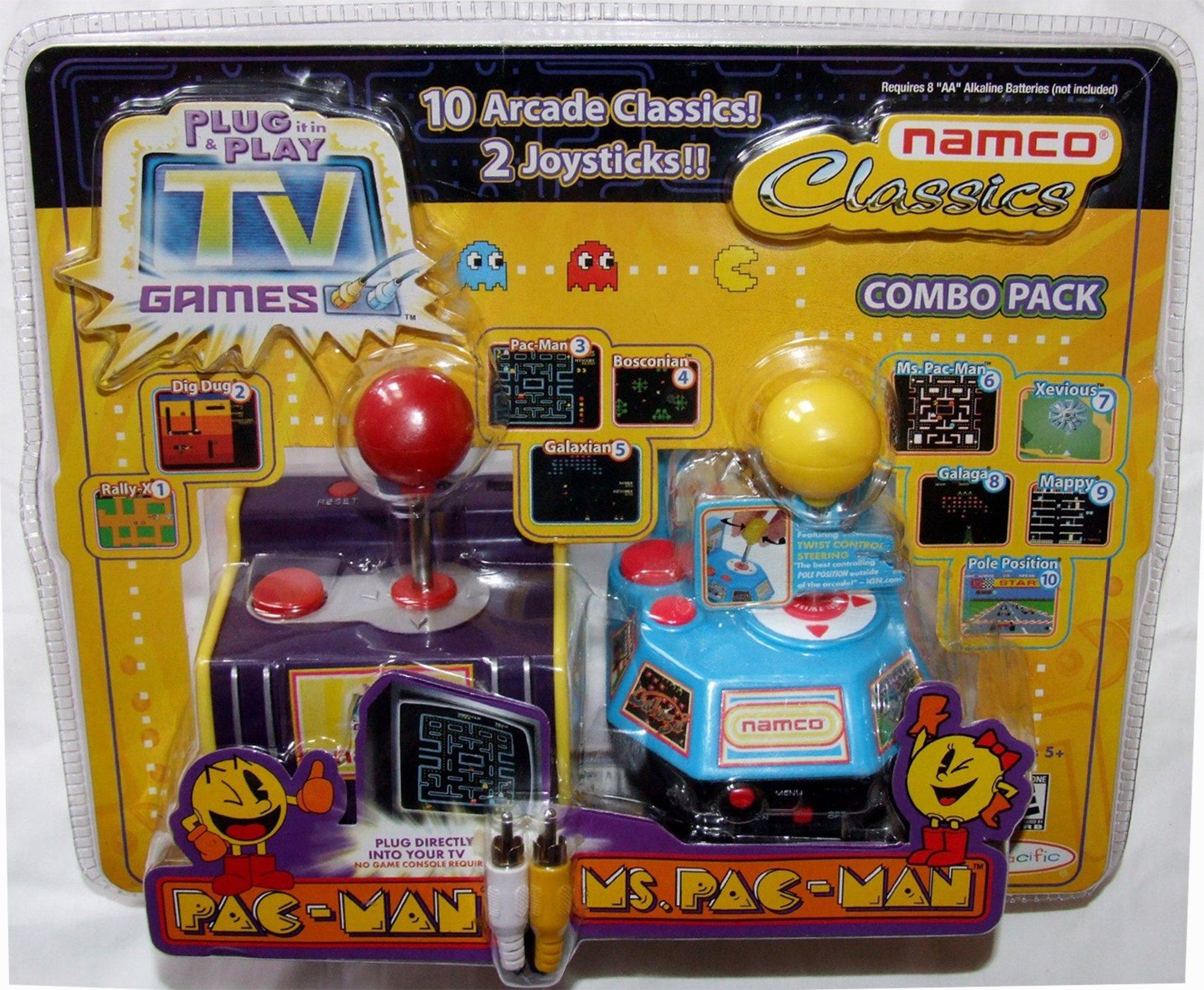 Jakks Plug & Play TV Games Namco Classics Combo Pack: Pac-Man & Ms. Pac-Man, 10 Arcade Classics