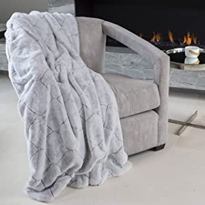 Mon Chateau Luxury Over-Sized Ultra Soft Reversible Faux Fur Throw - 60