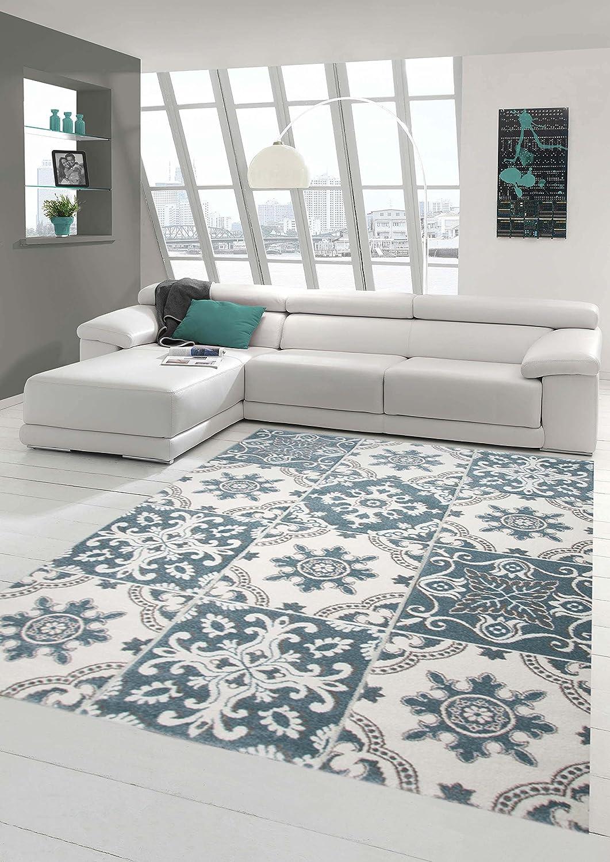Designer und Moderner Teppich Pastell Farben in Karo Muster Türkis Creme Beige Größe 160x230 cm