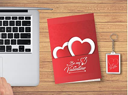Printelligent Gift Key Chain With Greeting Card Valentine Day Gift