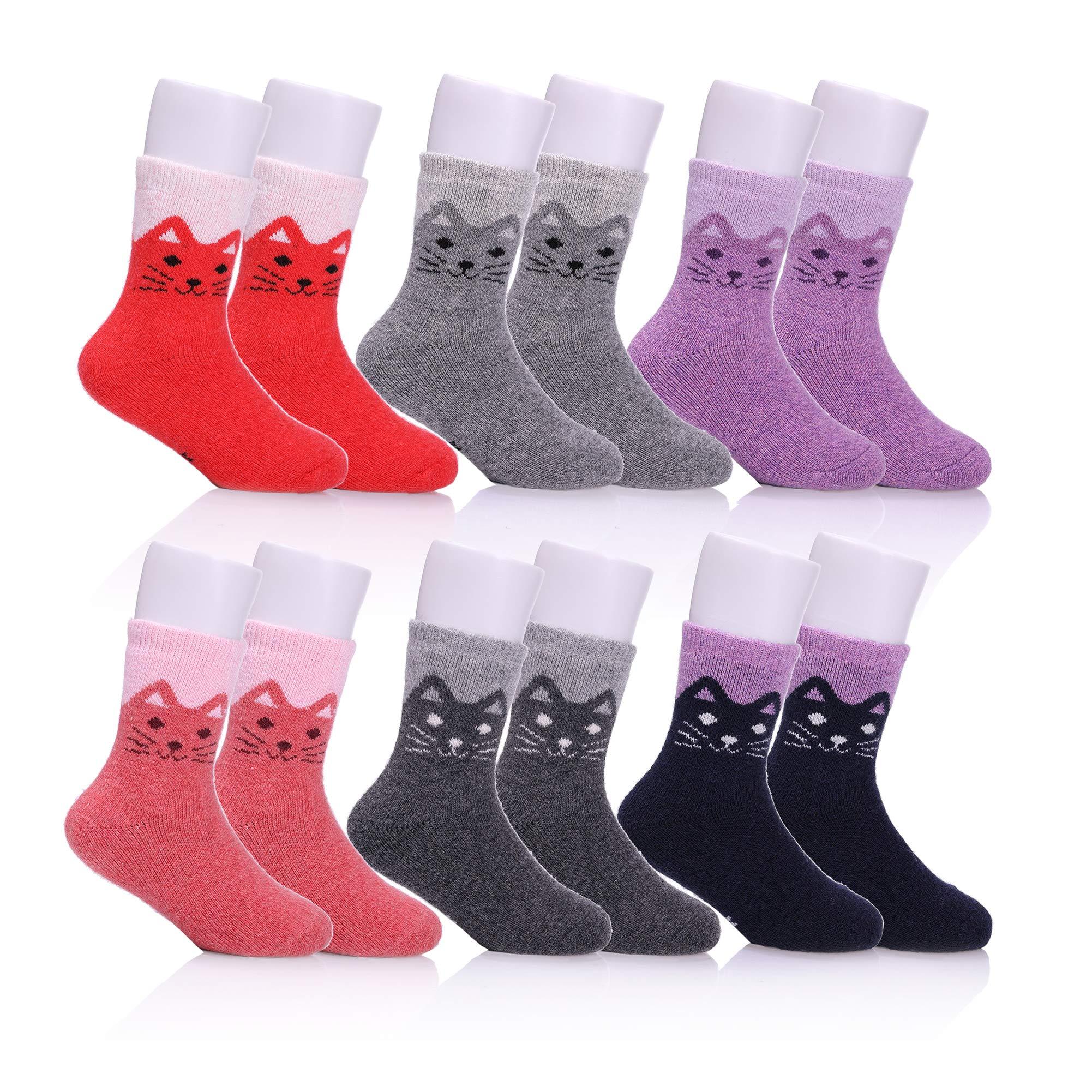 NOVCO Children's Winter Warm Wool Socks Kids Boys Girls Animal Socks 6 Pairs (6 Pairs Cat, 8-12 years)