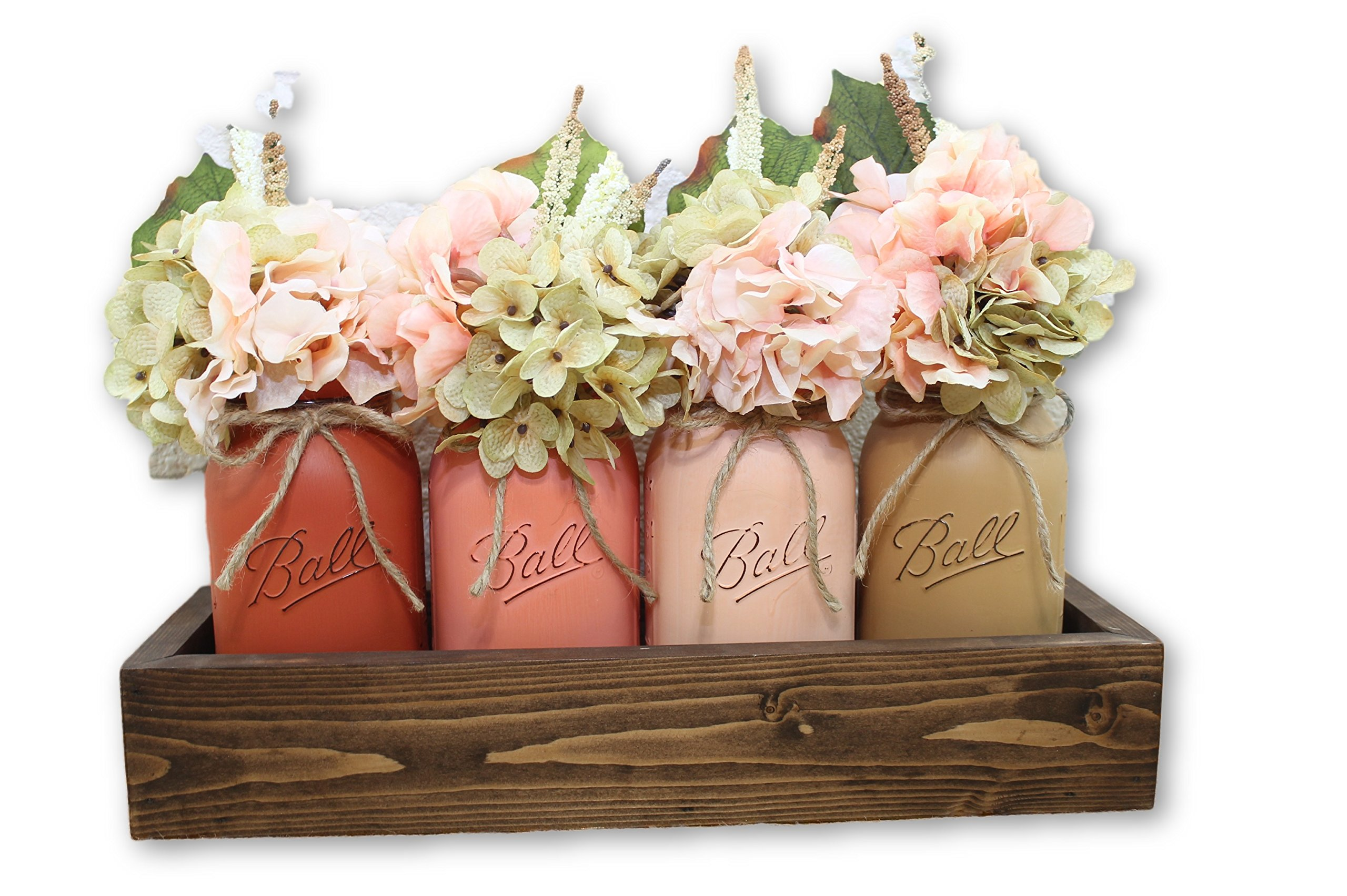 Peach Melba Quart Mason Jar Planter Box Flower Arrangement Centerpiece