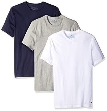 4a5477b53c8e9a Tommy Hilfiger Men's Undershirts 3 Pack Cotton Classics Crew Neck T-Shirt,  White/
