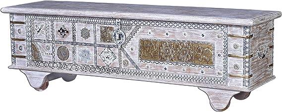 GINER Y COLOMER Baúles Decorativos - Baúl Madera Blanco Decapé/Bronce (45x146x40): Amazon.es: Hogar