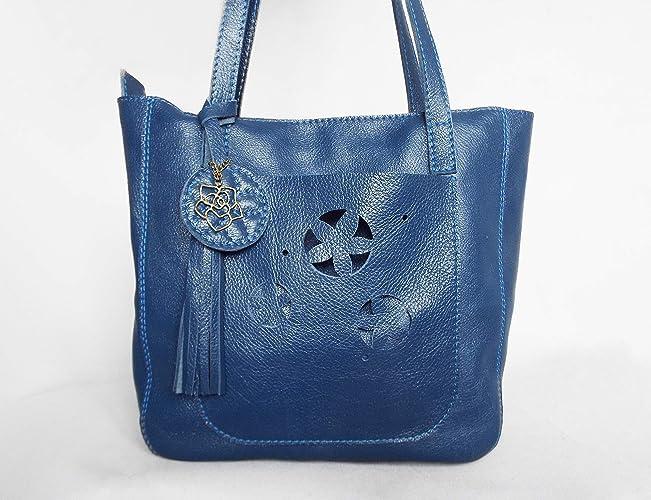 a3cec1fe024b Amazon.com: Leather tote bag navy blue, large summer women purse: Handmade
