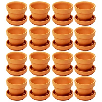Juvale Small Terra Cotta Pots with Saucer- 16-Pack Clay Flower Pots with Saucers, Mini Flower Pot Planters for Indoor, Outdoor Plant, Succulent Display, Brown - 2.2 x 1.9 inches: Home & Kitchen