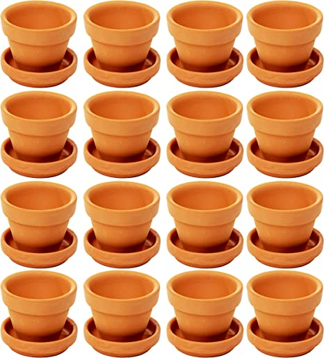 Small Terra Cotta Pots With Saucer 16 Pack Clay Flower Pots With Saucers Mini Flower Pot Planters For Indoor Outdoor Plant Succulent Display Brown 2 2 X 1 9 Inches Amazon Co Uk Garden Outdoors