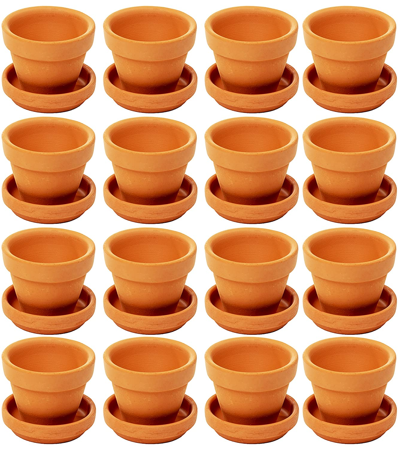 Small Terra Cotta Pots with Saucer- 16-Pack Clay Flower Pots with Saucers, Mini Flower Pot Planters for Indoor, Outdoor Plant, Succulent Display, Brown - 2.2 x 1.9 inches