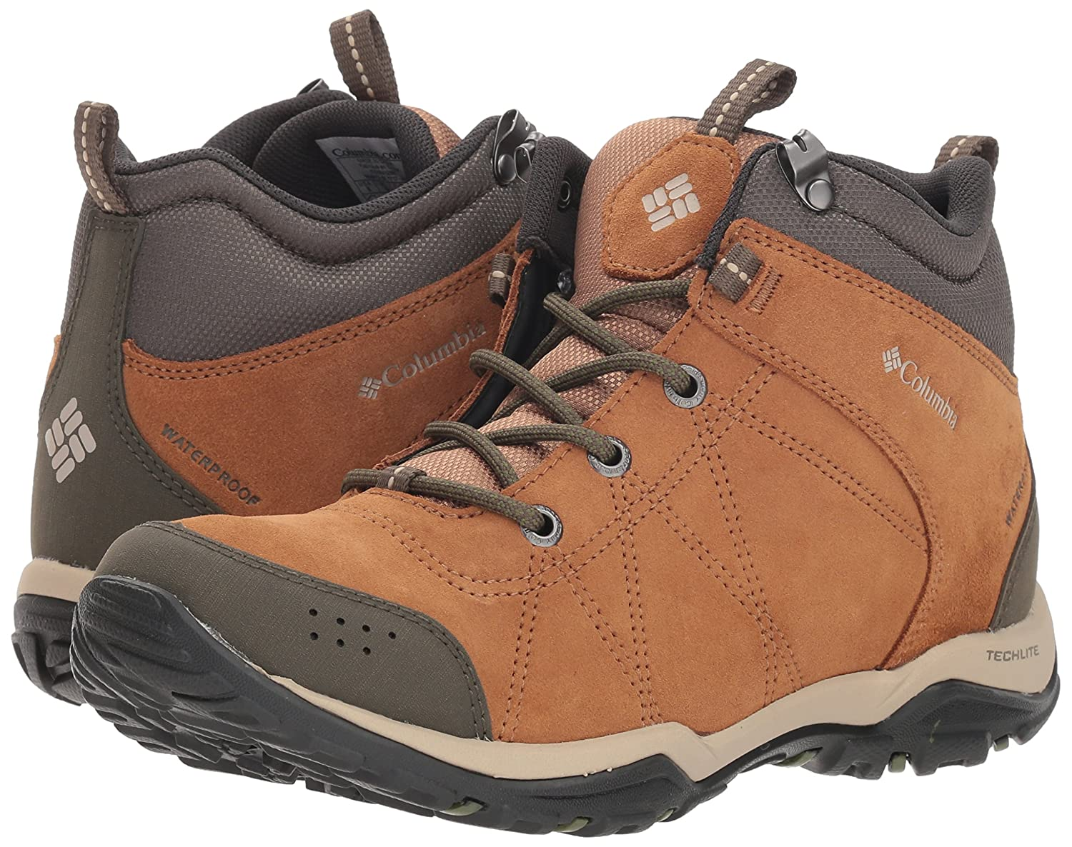 Columbia Women's Fire Venture Mid Suede Waterproof Hiking Boot B078F5NXHW 7.5 M US|Elk, Ancient Fossil