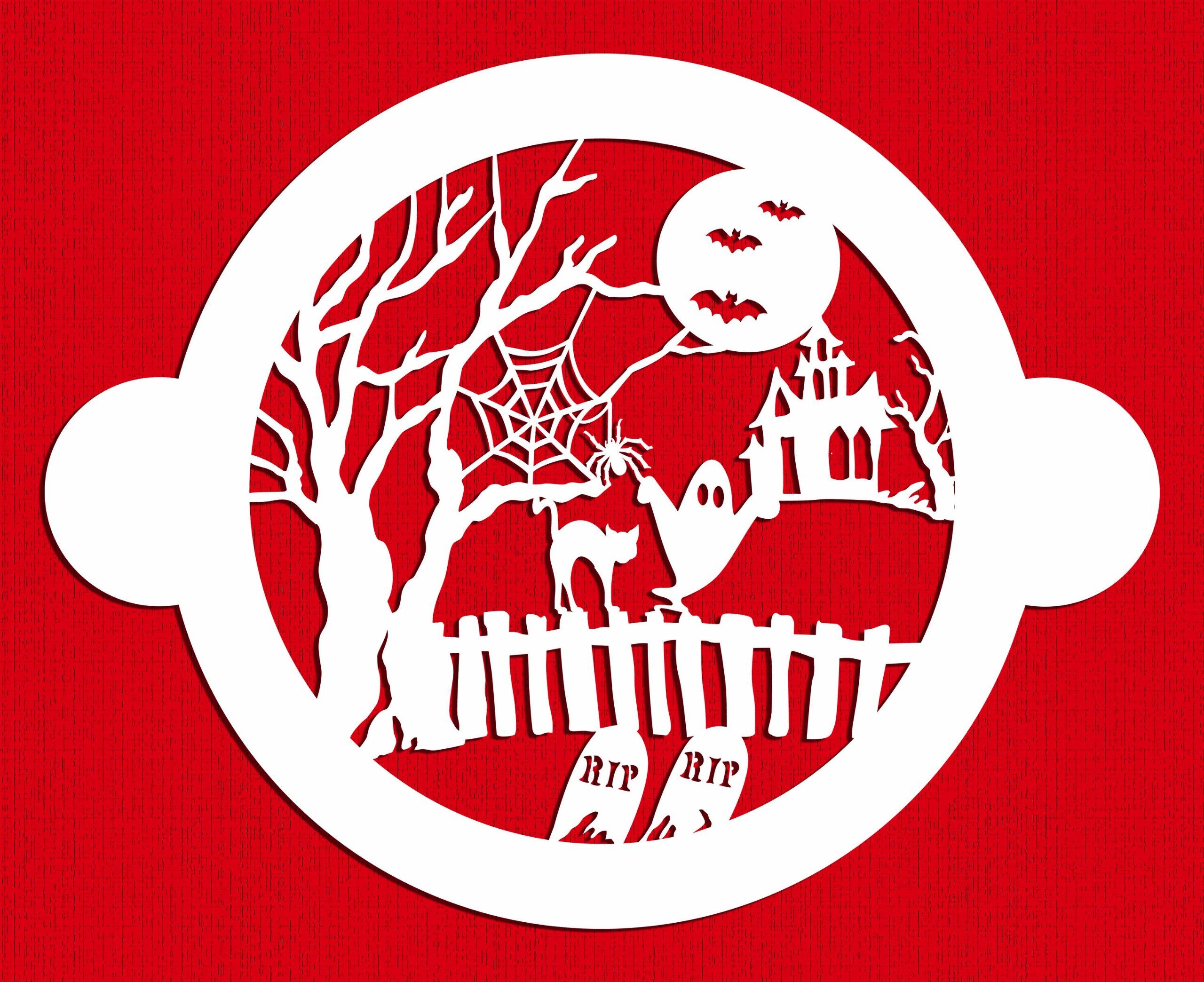 Designer Stencils C459 Halloween Cake Fright Top Stencil, Beige/semi-transparent