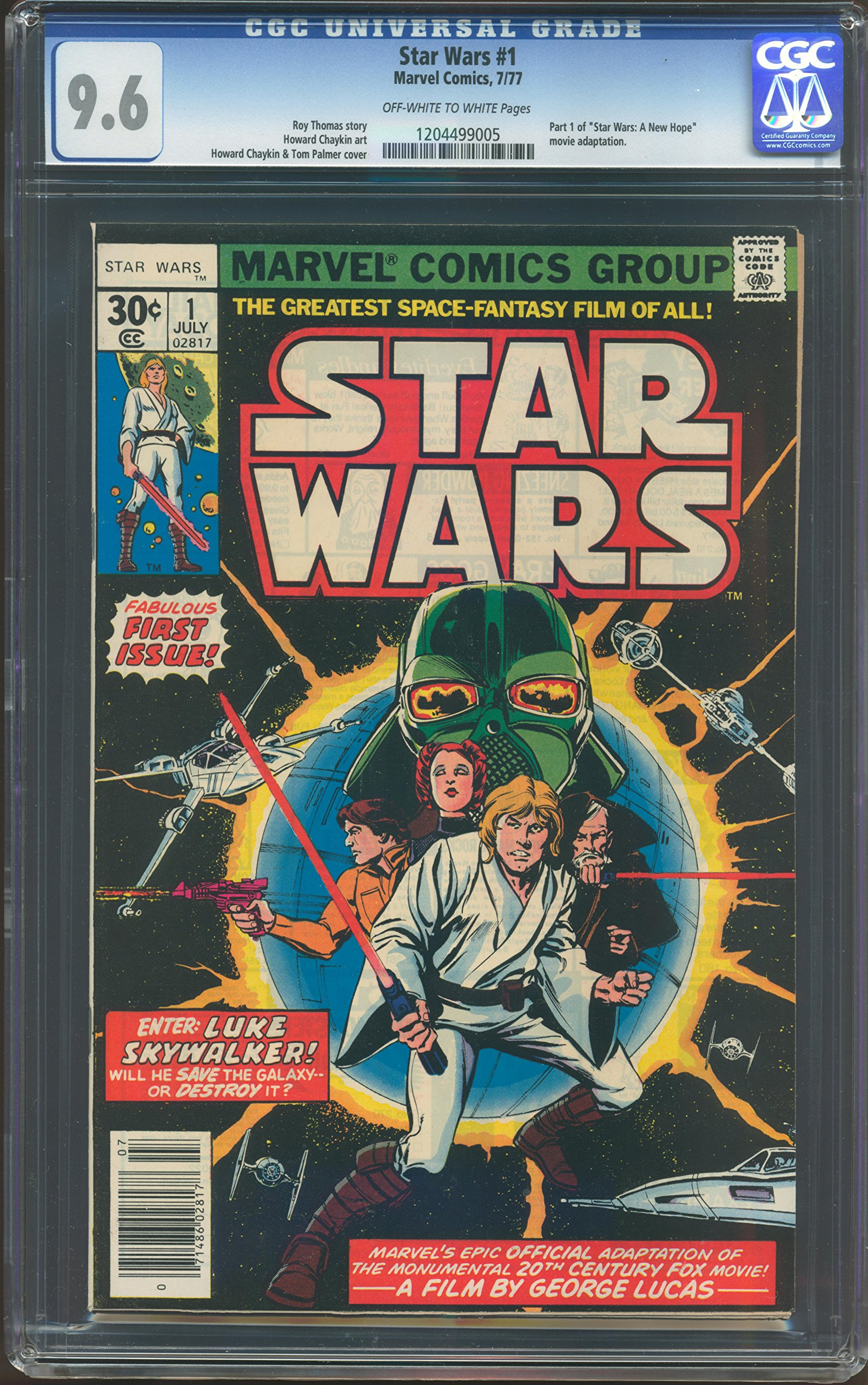 MARVEL COMICS STAR WARS VOL 1 # 1 CGC-GRADED 9.6 NEAR MINT+ WHITE PAGES JULY 1977 INVENTORY # 15003: Amazon.es: Roy Thomas: Libros