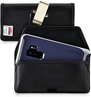 product image for Turtleback Belt Case for Galaxy S10+ Plus S9+ S8+ A30 A20 A50, Black Holster Leather Pouch with Heavy Duty Rotating Ratcheting Belt Clip Horizontal Made in USA