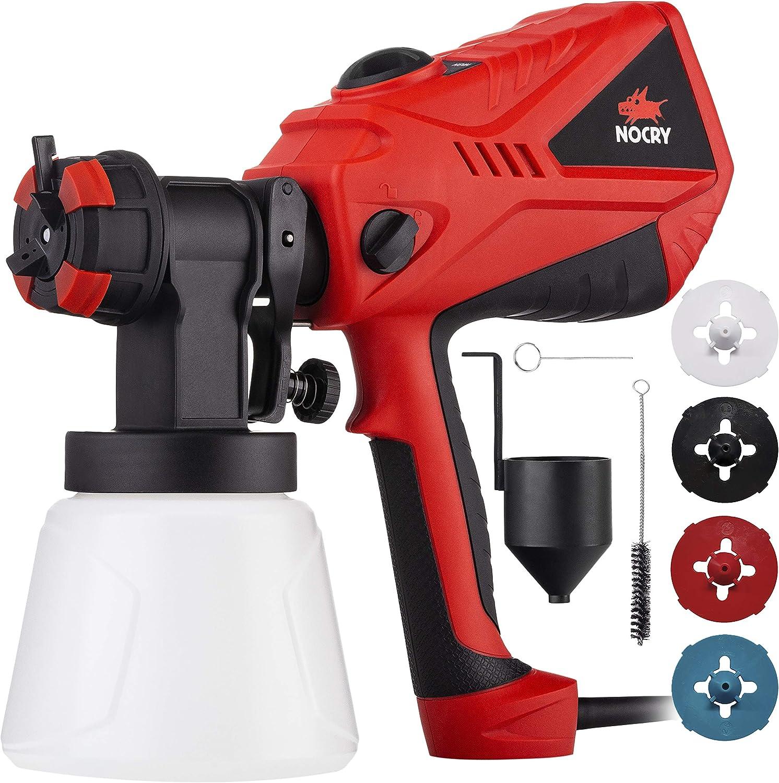 NOCRY Pulverizador de pintura eléctrico con flujo de aire ajustable y controles de pintura con 4 boquillas. 1000ml Negro y Rojo