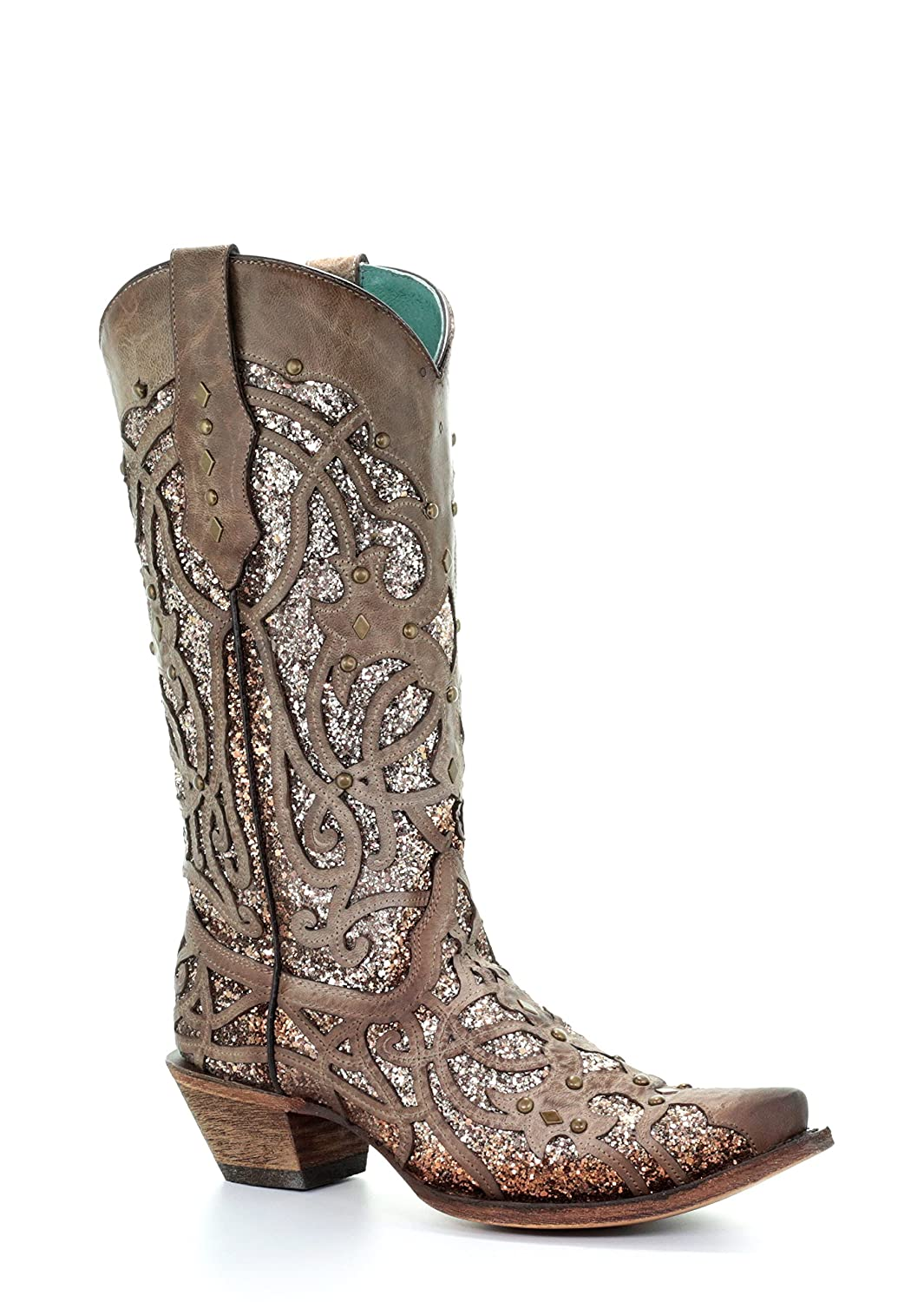 Corral Women's Luminary Glitter Inlay Studs Snip Toe Leather Cowgirl Boots - Orix B07BJCFJK4 8.5 B(M) US|Brown
