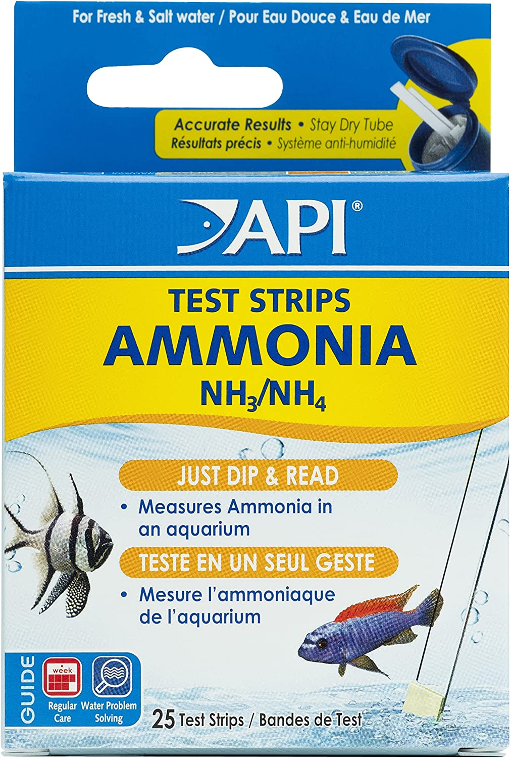API Test Strips, for Variety of Water Parameters, Monitor Aquarium Water Quality and Help Prevent Invisible Water Problems That can be Harmful to Fish, Use Weekly and When Problems Appear