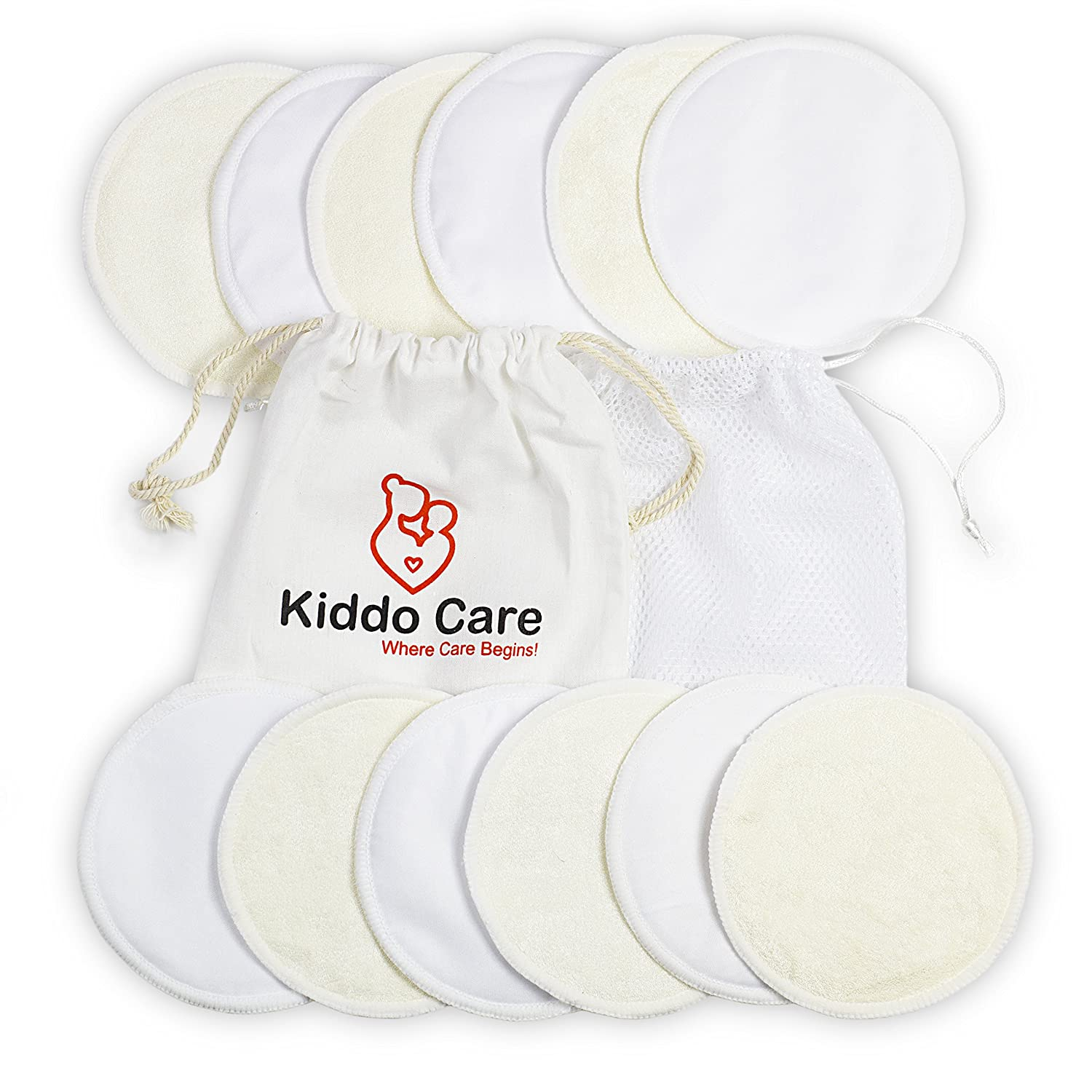 Kiddo Care Washable Organic Bamboo Nursing Pads -12 PACK WHITE (6 pairs)- Reusable Breast Pads,Bra pads, Leakproof, Ultra soft, Waterproof, Hypoallergenic breastfeeding pads, absorbent pads!