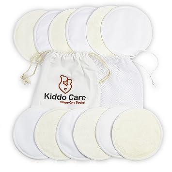 66cb9b52c9662 Kiddo Care Washable Organic Bamboo Nursing Pads -12 Pack White (6 Pairs)-